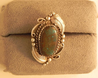 Vintage Ring Native American Indian Leaves  Stone Setting Sterling  Marked DD sz.7.