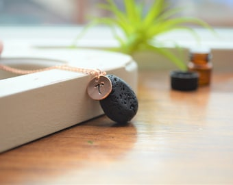 Personalized Lava Necklace, Essential Oil Necklace, Initial Necklace, Oil Diffuser Necklace, Lava Necklace, Diffuser Necklace, Rose Gold