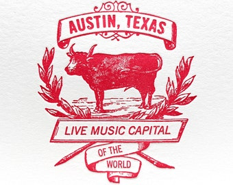 Letterpress Card Austin Live Music Cow Card in Red