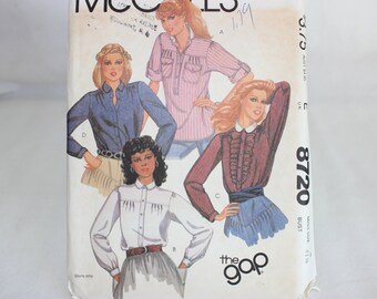 Vintage McCall's The Gap Sewing Pattern 8720 Misses' Shirts Size 8 Uncut