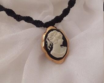 Beautiful Black Hemp Cameo Necklace