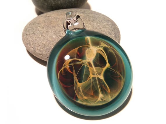 Water Spirit Pendant - Neuron Universe Filament Pattern - Boro Pendant - Glass Necklace - Blown Glass Pendant - Glass jewelry -Free Shipping