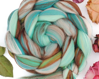 SLEEPING BEAUTY TURQUOISE - Custom Blend Merino Bamboo Silk Combed Top Wool Roving for Spinning or Felting -4 oz