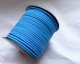 LEATHER cord/wire way suede links, flat 1.5 x 3 mm, blue, sterling silver jewelry findings