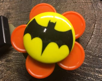 Name badge reel nurse badge recycled medication caps badge holder BATMAN red yellow