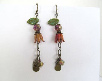 Coral Flower Earrings, Long Dangle Earrings, Botanical Earrings, Vintage Bead Earrings, Bohemian Earrings, Moonlilydesigns, Autumn Jewelry