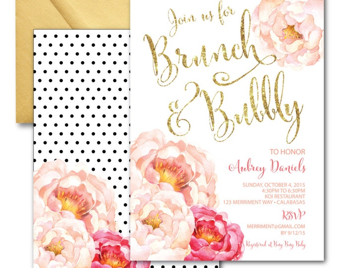 Brunch and Bubbly Invitation // Peonies // Peony// Bridal Shower Invitation // Pink // Gold Glitter // Polka Dots // CALABASAS COLLECTION