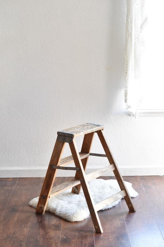 vintage wooden step ladder / folding ladder / repurposed plant stand