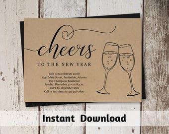 New years invitation etsy printable new years eve party invitation template nye 2018 celebration card kraft paper stopboris Choice Image