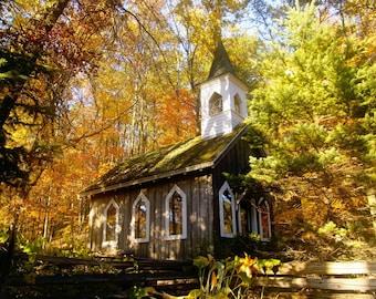 Landscape Decor, Home Decor, Church Art, Autumn Art, Waupaca, Wisconsin, Chapel, Fall at the Red Mill