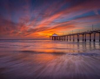 Manhattan Pier, Ca Pier at Sunset on Beach Surf Photography Decor Print, Ocean, Los Angeles, South Bay, Redondo, Hermosa Beach Fine Art