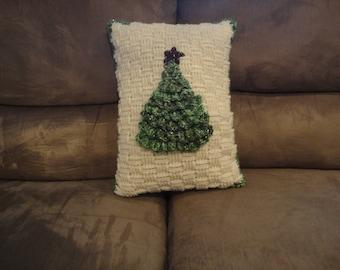 Crocheted Christmas tree pillow