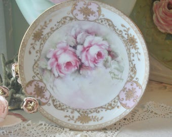 Gorgeous Hand Painted Roses Nippon Porcelain Plate, Artist Signed, Cottage, Shabby Chic