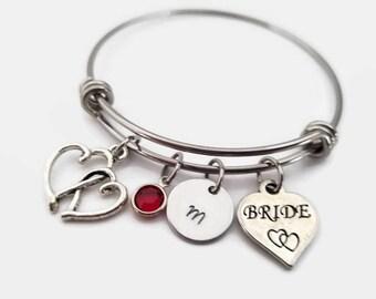 Bride bangle - bridal bracelet - hand stamped bride bracelet - bridal party bracelet - bride jewelry - personalized bracelet