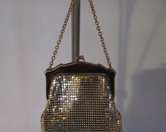Original  U.S.A Formal 1930's Whiting & Davis Gold Mesh Handbag  Purse Clutch