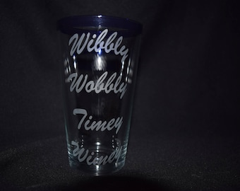 Doctor Who Inspired Wibbly Wobbly Timey Wimey Etched Glasses