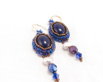 Earrings-black glass cabochons-blue and gold seed beads-pearl-crystal dangles-modern-contemporary-dainty-gift