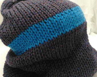Heathered Purple Wool Blend Slouchy Hat with Blue Stripe