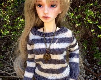 BJD SD13 and SD16 pullover, sweater, grey & white, handknit from pure merino lace wool.