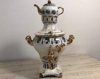 Vintage 70's Samovar GZHEL Blue and white Russian Porcelain Decorative