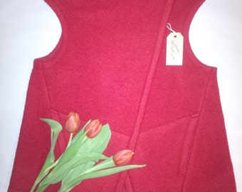 SALE!!! Boiled Wool Women Vest with side pockets Size S