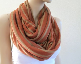 Stripes Print Scarf, Chunky Fashion Scarf, Brown Beige Cotton Scarf, Fashion Women Scarfs, Cotton Shawl Scarf