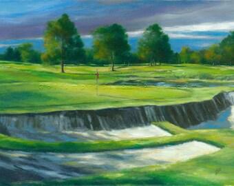 Golf Art. Golf Gift. Golf Wall Decor. The Golf Club - New Albany, Ohio, Hole #5. Print of original oil painting.