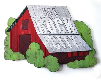 Barn Wall Art See Rock City Sign Tourist Stop Wooden Barn Art Large Scale Barn Red Barn Art