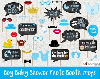 Baby shower props, Boy. Selfie station picture signs. Printable. DIY blue baby shower bubble speech photo props. Instant download. PDF file.
