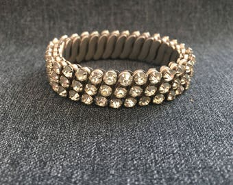 vintage rhinestone bracelet, silver tone stretch bracelet, vintage cuff bracelet