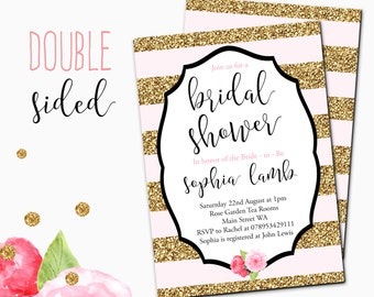 Bridal Shower Invitation \\ blush pink and gold stripe \\ gold glitter invite \\ Printable \\ Digital Download