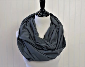 Gray Scarf - Coworker Gift - Gray Infinity Scarf - Gray Chunky Knit Scarf - Grey Infinity Scarf - Knit Scarf - Scarves For Bridesmaids