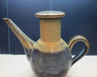Vintage Heavy Stoneware Coffee Pot With Crystal Glaze