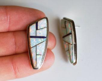 1980s Navajo sterling opal inlay pierced earrings / 80s vintage Native American Southwest silver geometric earrings inlaid white opal lapis