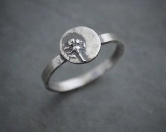 Botanical Ring, Plant Ring, Sterling Silver Ring, Metal Ring, Whorled Milkweed, Kansas Prairie Ring, Wildflower Ring, Stack Ring, Size 7