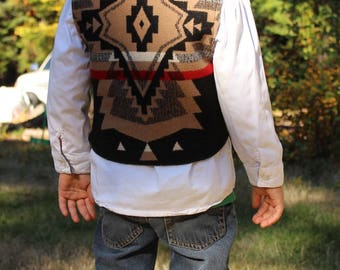 Big Thunder Childs Wool Vest Sewn in Genuine Pendleton wool with celtic clasps Sz 4-6