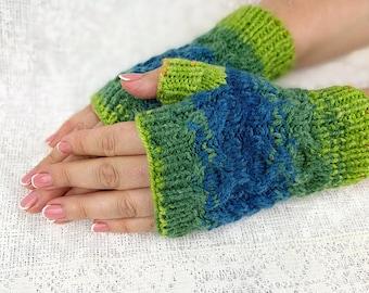 Knit Fingerless Gloves Colorful Gloves Hand Warmers Womens Fingerless Chunky Arm Warmers Womens Fingerless Wrist Warmers Hand Warmers