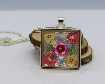 Flowers, Stars, Moons Cabochon Square Resin Jewelry