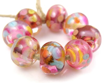 Take a Chance SRA Lampwork Handmade Artisan Glass Donut/Round Beads Made to Order Set of 8 8x12mm
