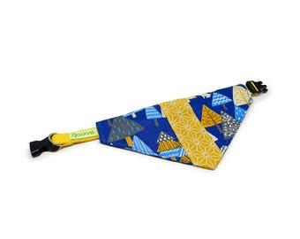 GOOOD Dog Collar (Small Sz)   Center Scarf - Blue Forest   100% Blue & Yellow Fabric