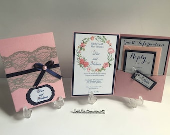 Wedding Invitations-Lace Wedding Invitations- Handmade Wedding Invitations