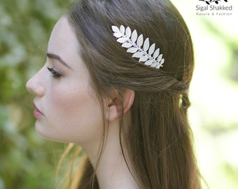 Silver Leaf Hair Comb, Bridal Hair Comb, Laurel Hairpiece, Wedding Comb, Bridesmaid Headpiece, Bridesmaid Comb, Bridesmaid Gift, Boho Bride