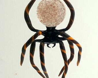 e30-21 Hanging Brown Spider with striped legs and aventurine in abdomen
