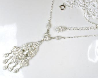 1920s Art Deco Necklace, Silver French Paste Pave Rhinestone Pendant Bridal Lavaliere,Great Gatsby Flapper Antique Vintage Wedding Statement