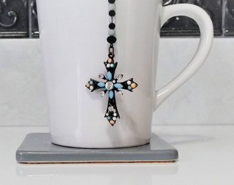 Beaded Cross Tea Infuser for Loose Leaf Tea - Beautiful Black, Blue and White Crystal Cross with Crystal and Amozonite Accents