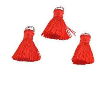 Red, textile tassel ring, 22x10mm, set of 3 Pcs