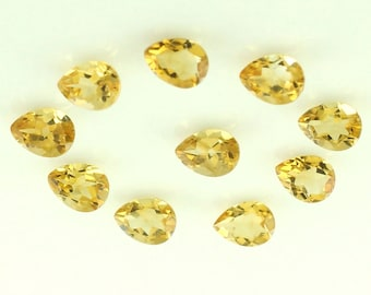 Superior 10 Pcs Real YELLOW CITRINE Faceted Pear Gemstone 7 X 10 MM Citrine Pear Gemstone Natural Yellow Citrine Faceted Pear Loose Gems