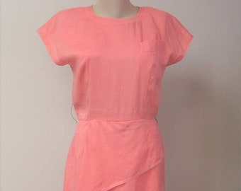 Vintage 80s Peach Fitted Day Dress / Wiggle Dress / Career Afternoon Spring Dress