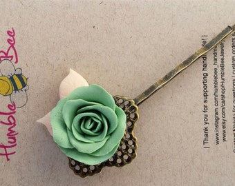 Rose Flower Hairpin, green floral hairpin, Made in Canada