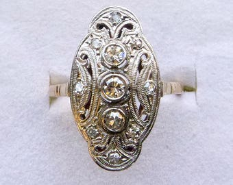 Edwardian lacy filigree 18k gold Old European cut and single cut diamond two tone gold ring size 6.25  Downton Abbey